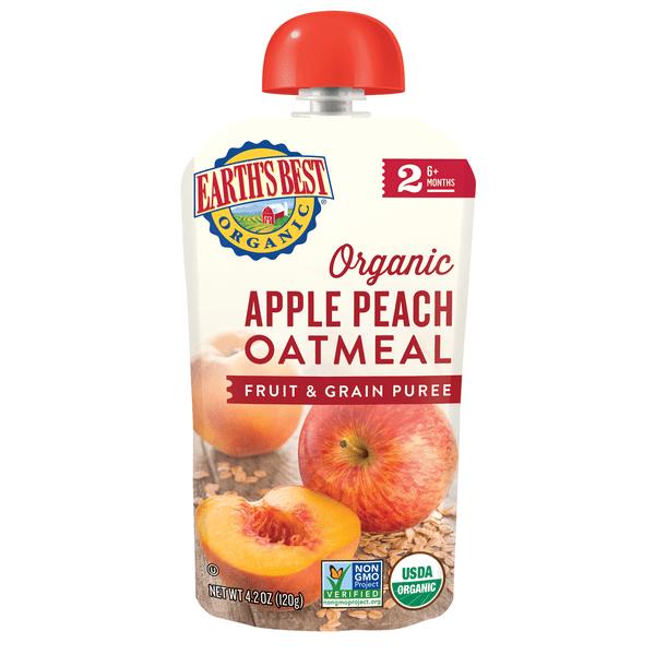 Apple Peach Oatmeal Fruit and Grain Puree