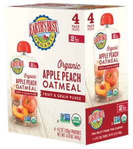 Apple Peach Oatmeal Fruit and Grain Puree 4-Pack
