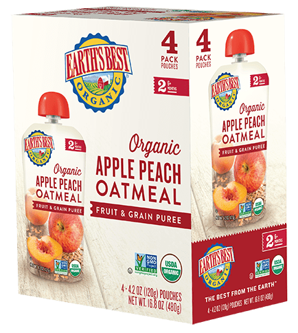 Apple Peach Oatmeal Fruit and Grain Puree 4-Pack