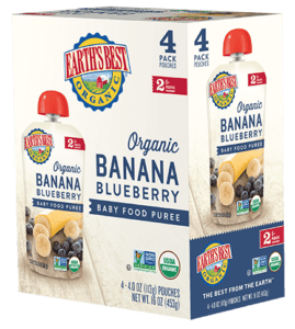 Banana Blueberry Baby Food Puree 4-Pack