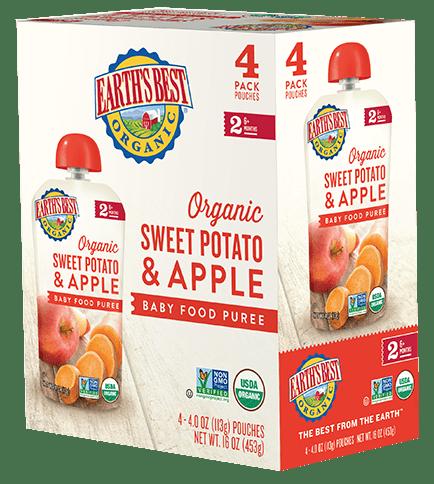 Sweet Potato Apple Baby Food Puree 4-Pack
